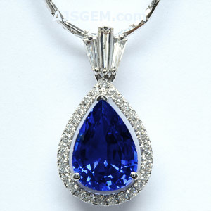 5.35 ct Blue Sapphire and Diamond Pendant