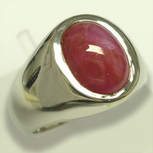 8.54 ct Unheated Star Ruby Silver Ring side view