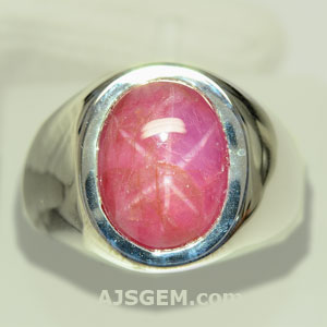 8.54 ct Unheated Star Ruby Silver Ring