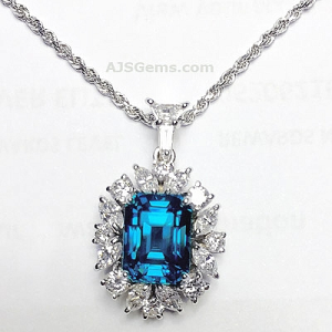 Blue zircon and diamond pendant